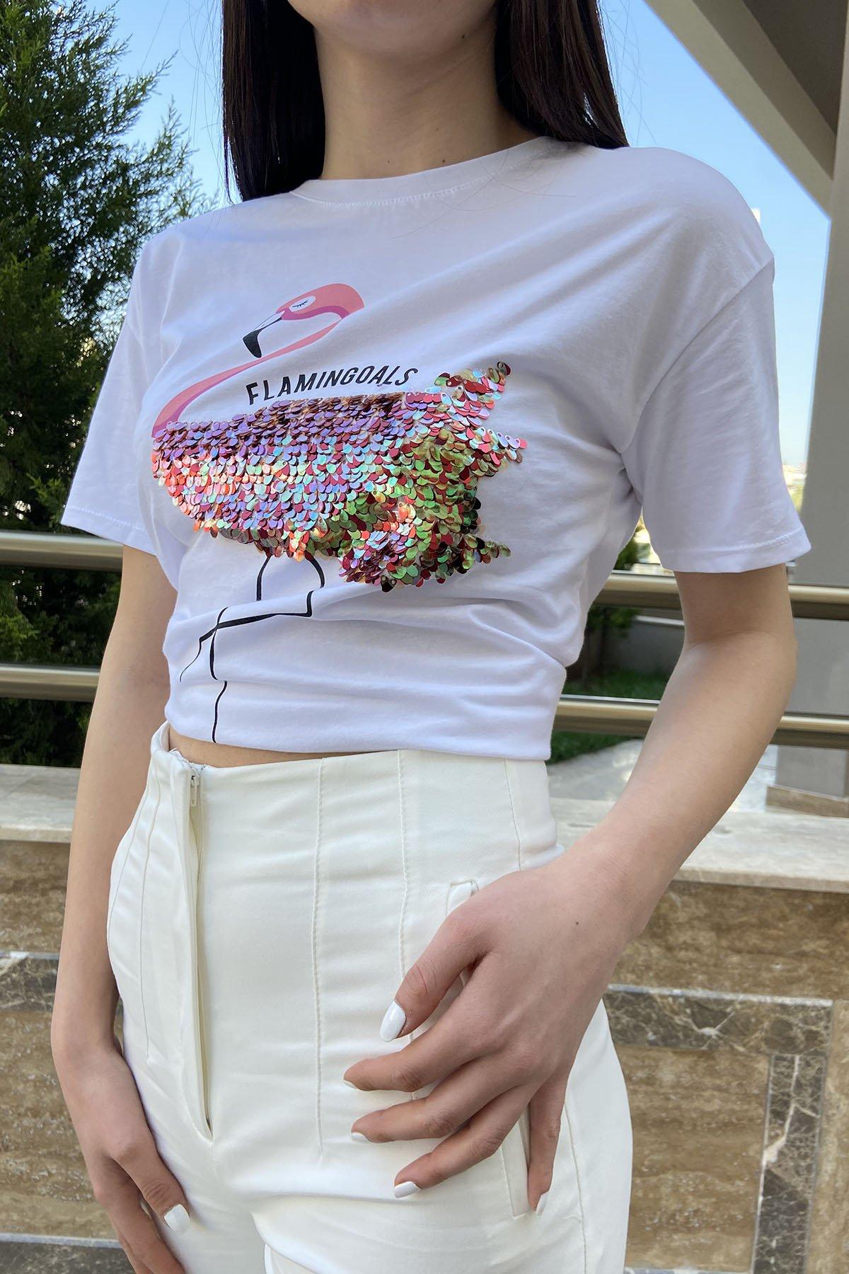 200 69t Flamingo Baskı Pullu Tshirt